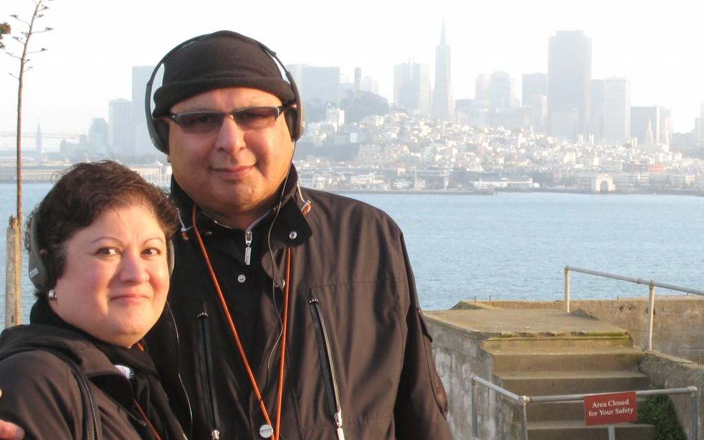 Sabiya and Noorali Bharwani on the island with San Francisco