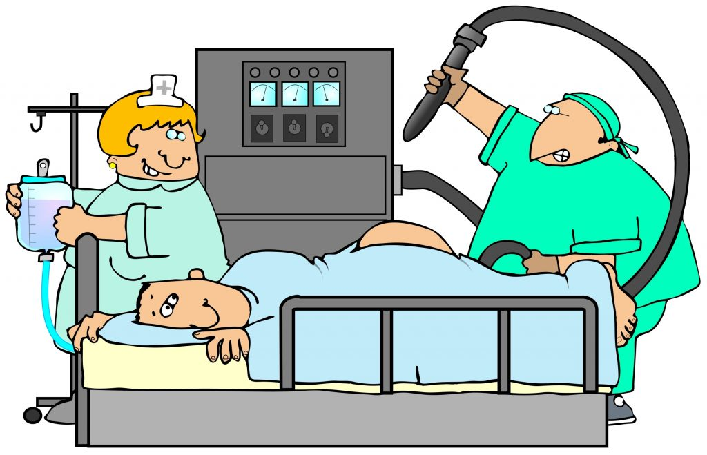 Colonoscopy cartoon. (Hemera)