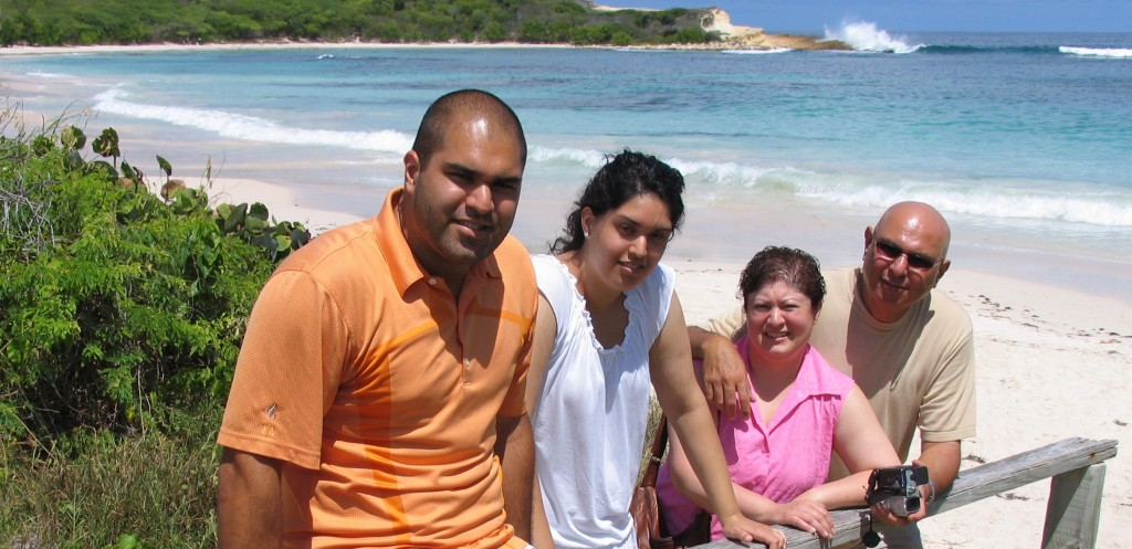 Antigua - the famous Half Moon Bay - from left to right - Hussein, Alia, Sabiya and Noorali Bharwani