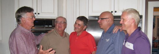 "Kitchen encounter with ""Mr. 59"". Al Geiberger. From L to R: Al Geiberger, Harry, Tony, Noorali, Dan."