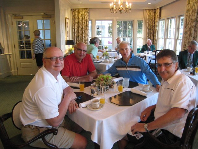 Having breakfast in the clubhouse - restricted to members and their guests. L to R: Harry, Noorali, Dan, Tony.