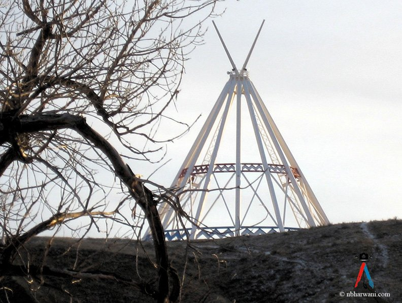 The world's tallest teepee on a snow-free morning. (Dr. Noorali Bharwani)