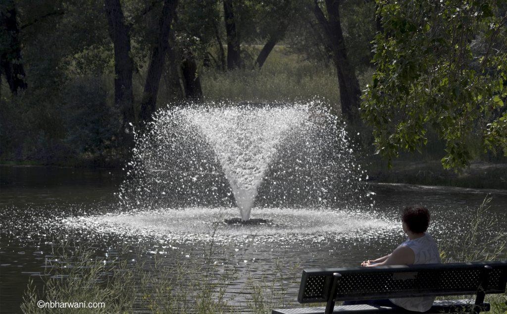 Water fountain at Strathcona Island Park in Medicine Hat, Alberta, Canada. (Dr. Noorali Bharwani)