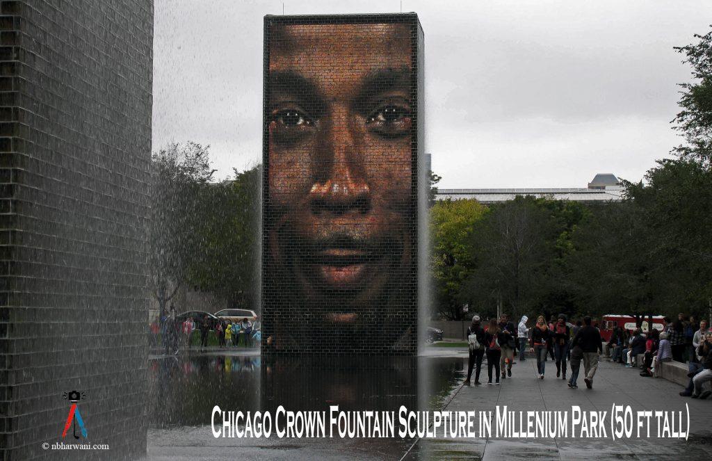 Crown Fountain in Millennium Park, Chicago, Illinois. (Dr. Noorali Bharwani)