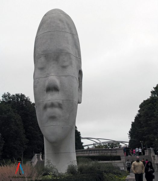 """""""Looking Into My Dreams, Awilda,"""" is one of four large-scale portrait sculptures titled """"Jamue Plensa: 1004 Portraits,"""" in Millennium Park, Chicago. (Dr. Noorali Bharwani)"""