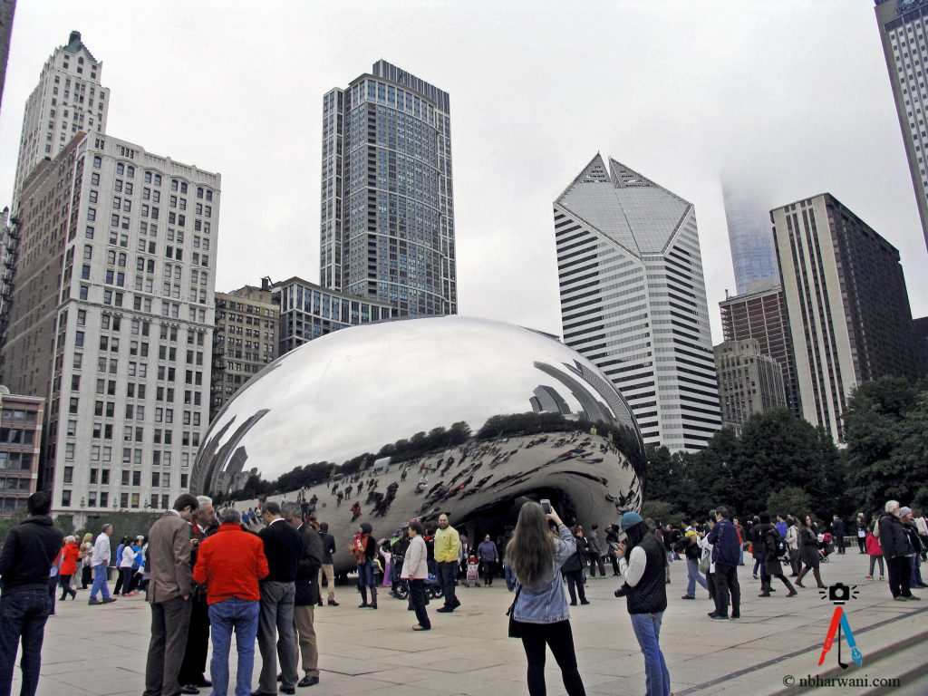 Cloud Gate, nicknamed The Bean, in Millenium Park, Chicago. (Dr. Noorali Bharwani)