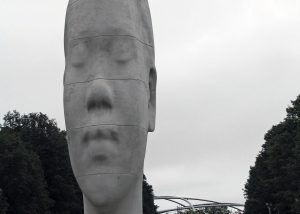 Looking Into My Dreams, Awilda, is one of four large-scale portrait sculptures titled Jamue Plensa: 1004 Portraits, in Millennium Park, Chicago. (Dr. Noorali Bharwani)
