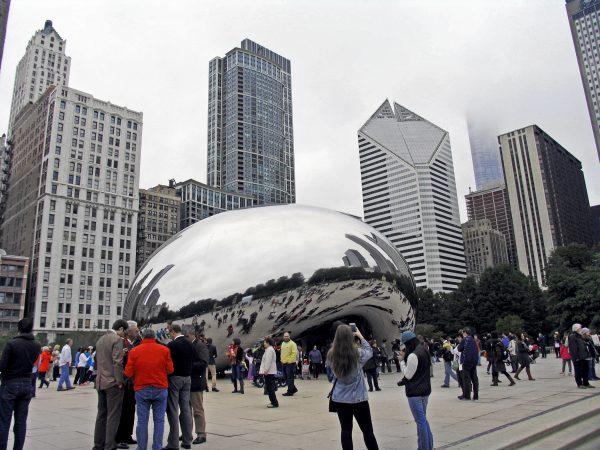 Cloud Gate, nicknamed The Bean, in Millenium Park, Chicago. (Dr. Noorali Bharwani)