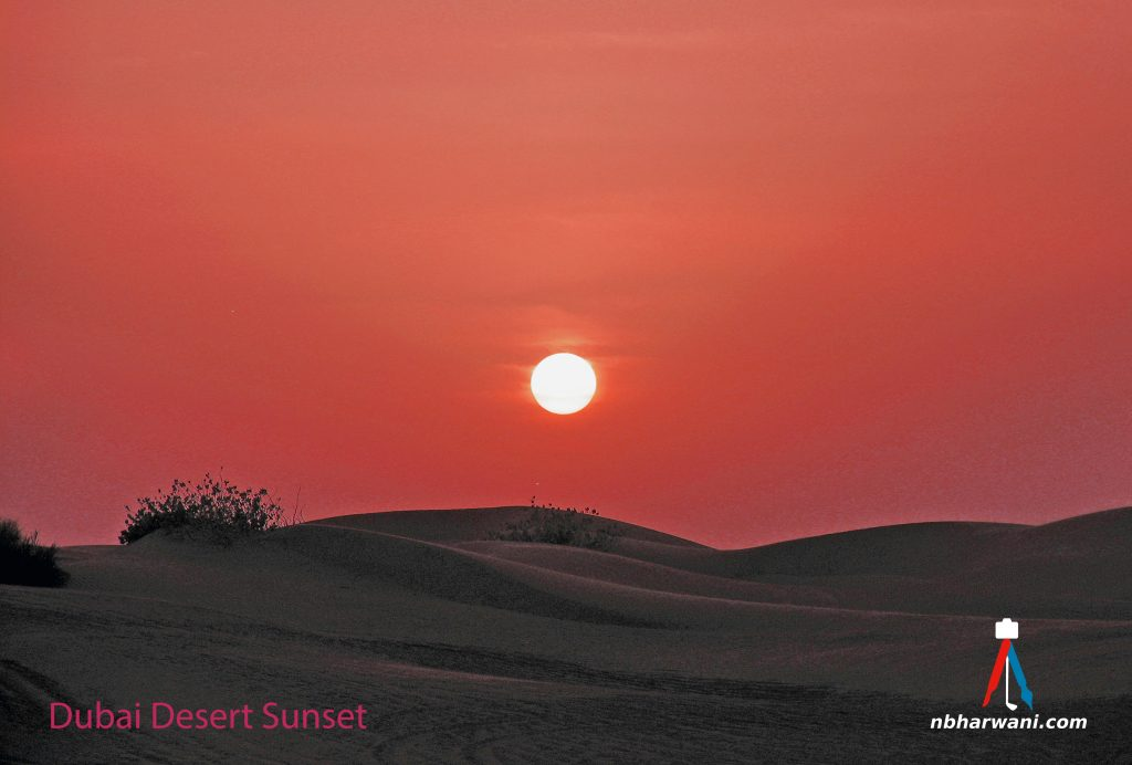 Sunset on a desert tour of Dubai. (Dr. Noorali Bharwani)