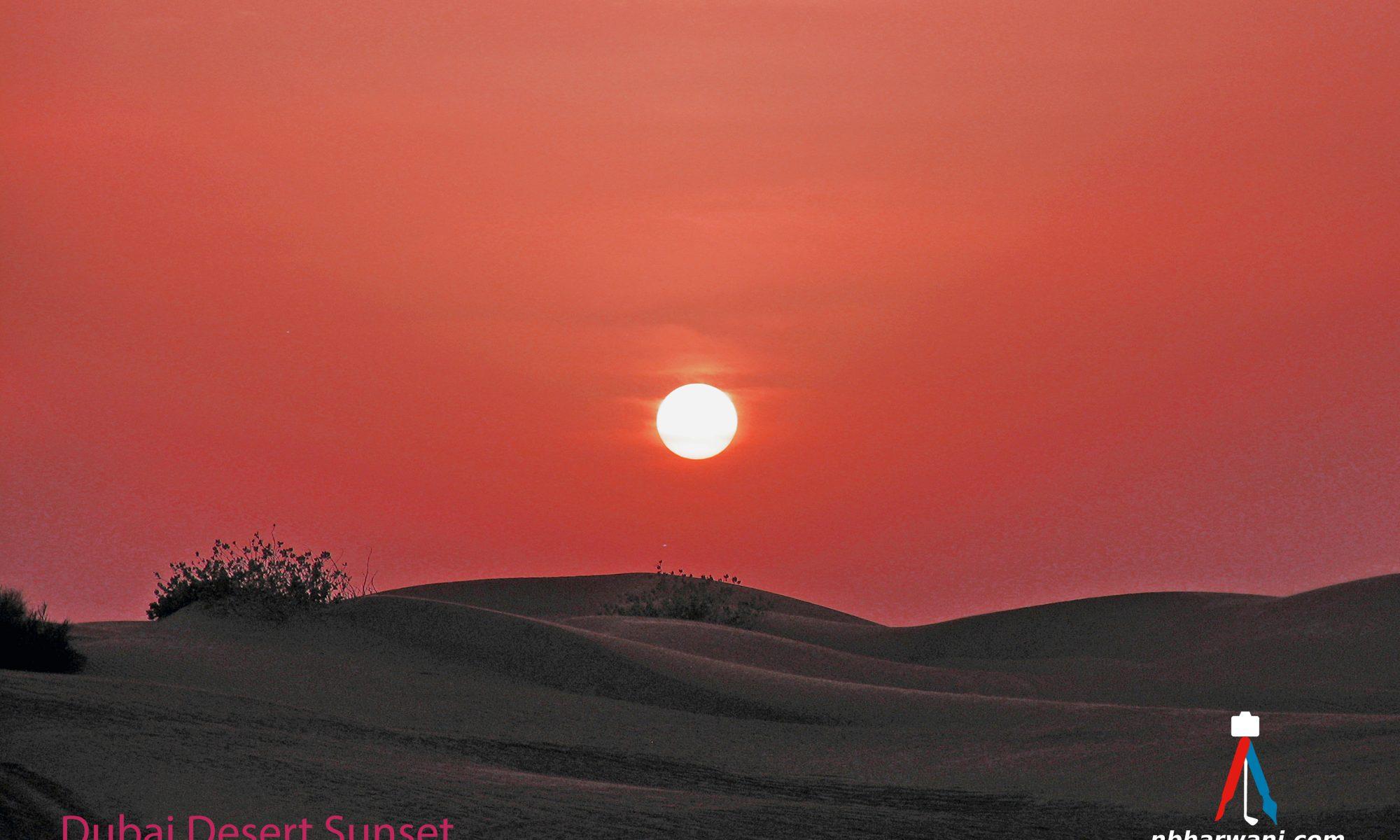 Sunset on a desert tour of Dubai. (Dr. Noorali Bharwani)