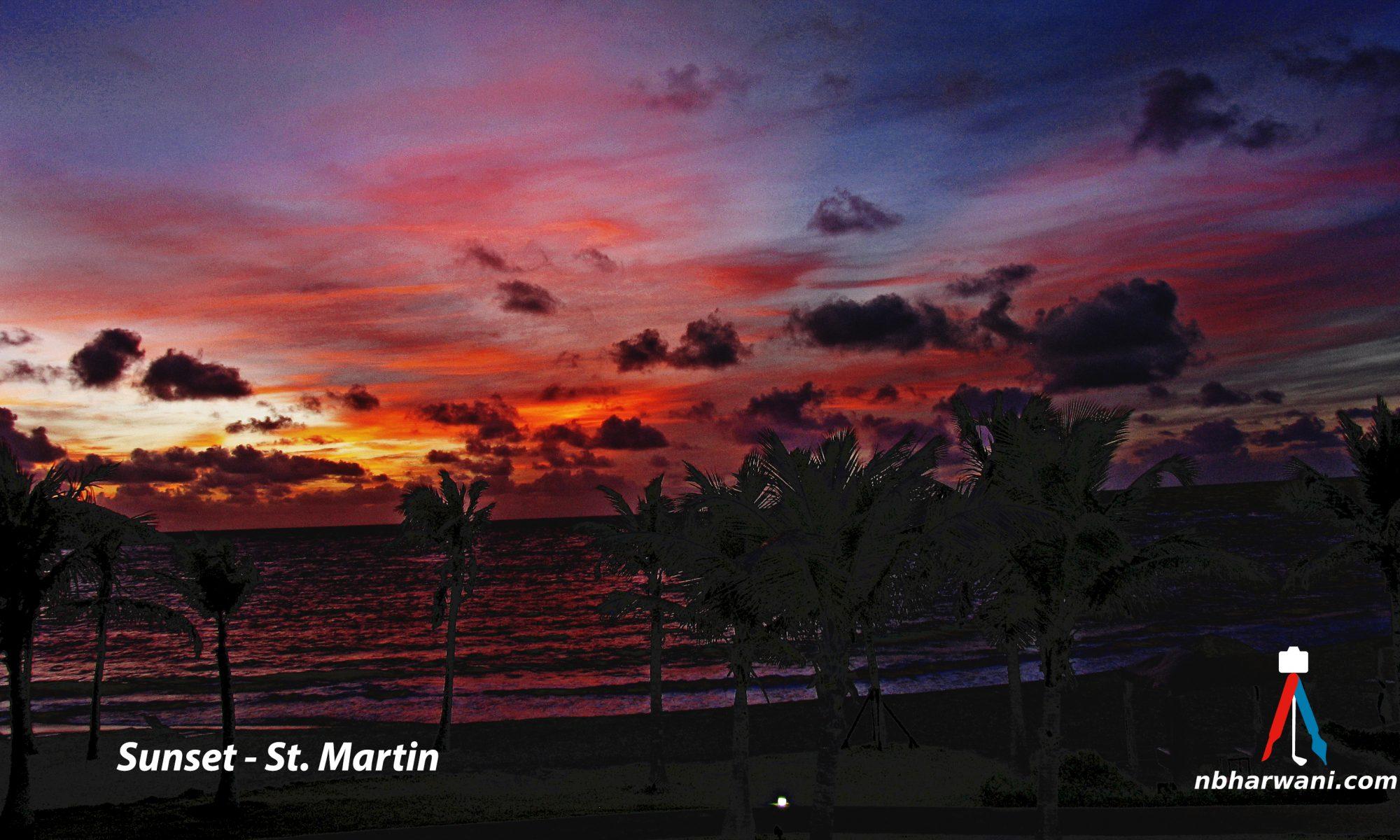 Sunset in Saint Martin, Caribbean. (Dr. Noorali Bharwani)