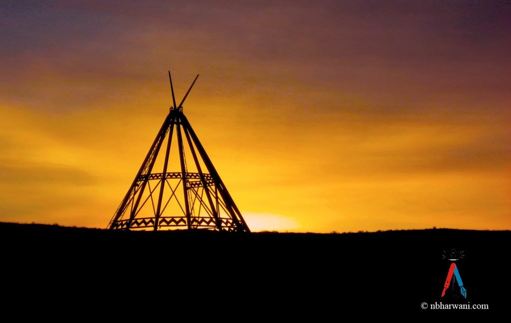 Sunrise at the World's Tallest Tepee, Medicine Hat, Alberta. (Dr. Noorali Bharwani)