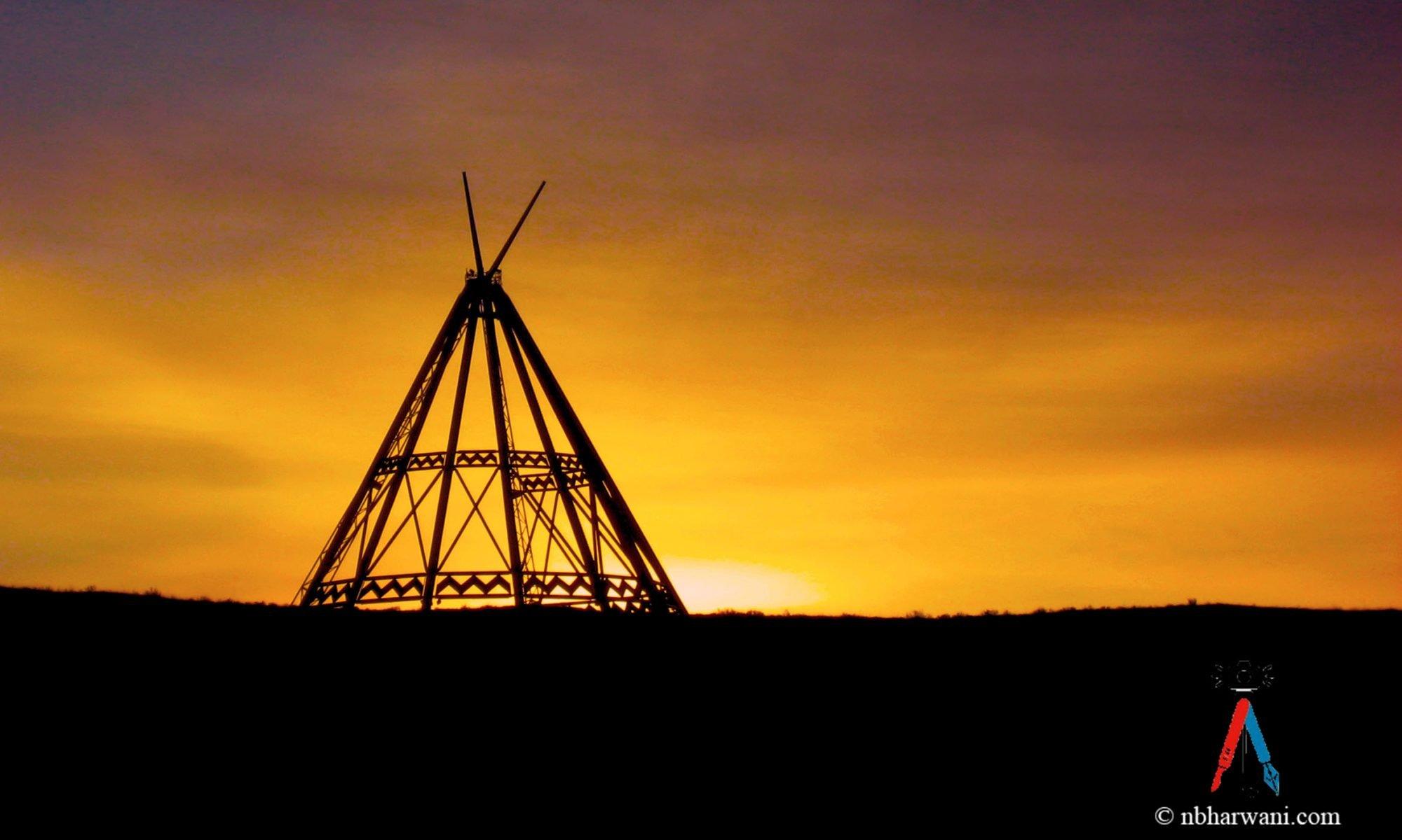 Sunrise at the World's Tallest Tepee, Medicine Hat, Alberta. (Dr. Noorali Bharwani)
