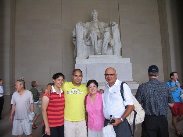 Alia, Hussein, Sabiya, and Noorali at Lincoln Memorial