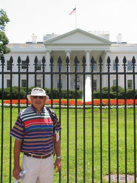 Noorali in front of the White House