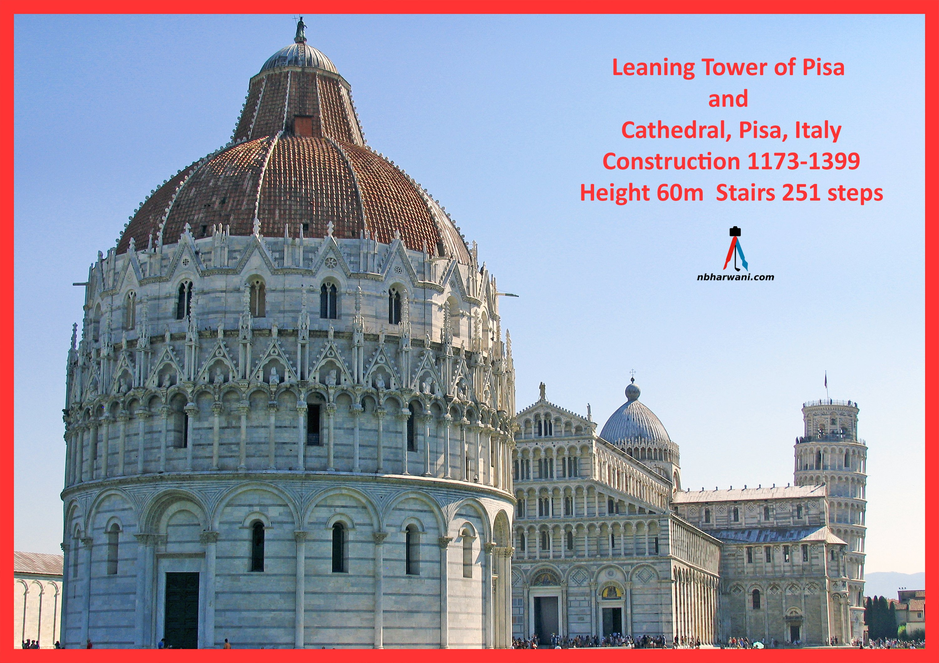 Piazza dei Miracoli (English: Square of Miracles), formally known as Piazza del Duomo (English: Cathedral Square), is a walled 8.87-hectare area located in Pisa, Tuscany, Italy. (Dr. Noorali Bharwani)