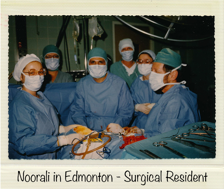 An example of a surgical mask while Dr. Bharwani was a surgical resident in Edmonton in 1983.