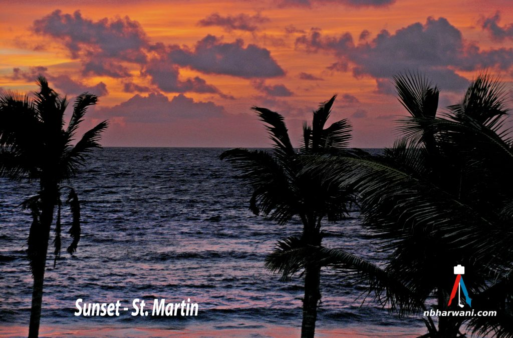 Sunset in St. Martin - an island in the Caribbean Sea. (Dr. Noorali Bharwani)